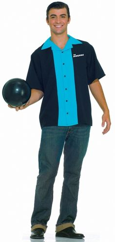 King Pin Men's Uniform Bowling Shirt Costume - Knock em all down this Halloween with this black and teal colored The Kingpins bowling shirt. This is a black shirt with a teal front and collar, and has black buttons down the front. The back of the shirt has a bowling pin and bowling ball design with The Kingpins written on top. There is also a The Kingpins logo on the left side of the chest. #bowling #yyc #costume