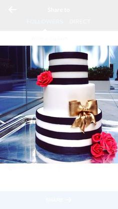 Black and white stripes, a gold bow, and red roses make this cake a bold statement at any party. 30th Birthday Parties, 70th Birthday, Birthday Celebration, Pretty Cakes, Beautiful Cakes, Kate Spade Party, Bolo Minnie, Before Wedding, Gold Party