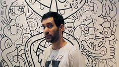 Opening- Jon Burgerman's New Mural at Roger Smith Hotel - http://art-nerd.com/newyork/opening-jon-burgermans-new-mural-at-roger-smith-hotel/