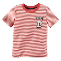 Boys 4-8 Carter's Applique Patch Striped Tee, Ovrfl Oth