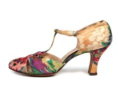 1920s T-strap satin shoes of watercolor shades of red, green and peach.1923