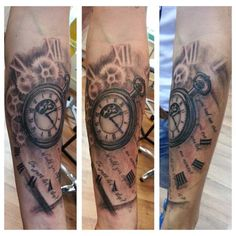 custom pocketwatch tattoo by @Martha Pranckuviene