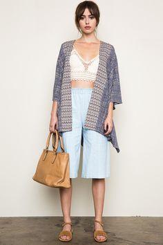Blue Pattern Knit Open Cardigan
