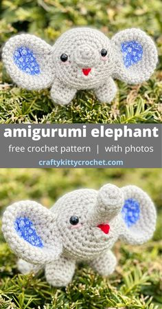 This bouncy baby elephant amigurumi is fun, fast, and easy to make! Plus, it's super cute and easily customized! Easy Crochet Patterns, Crochet Patterns Amigurumi, Crochet Designs, Crochet Elephant, Elephant Pattern, Crochet Baby Toys, Free Crochet, Crochet Animals, Stuffed Animal Patterns