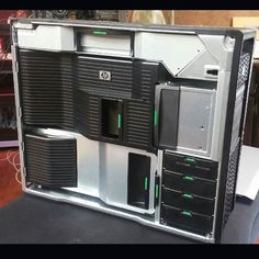 Totes geeking out. New to me HP WORKSTATION PC  just came in. finally got all my hardware in line. Too bad 4 OF MY HARD DRIVES FAILED last week. It's ok just my life's work in digital form that's all. Good thing I know how to fix everything.. 2 processor's 12 cores 192Gb DDR3 15 SATA connections and 2 video cards. w my cintiq 24 hd YO MAMA.#jamesdangerharvey #jamesdangerart #jdanger