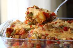 Kruidige ovenschotel met sperziebonen, aardappel, paprika, spekjes en kaas - De keuken van Ursie