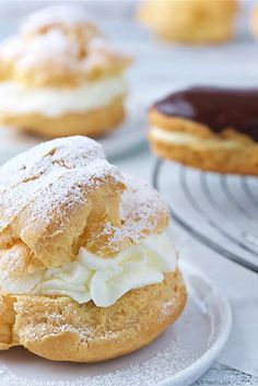 The same easy pastry batter makes the light and airy confections we know as cream puffs, and chocolate éclairs. Cream puffs, round and fa. Eclairs, Profiteroles, Pastry Recipes, Baking Recipes, Cookie Recipes, Dessert Recipes, Mini Desserts, Just Desserts, Delicious Desserts