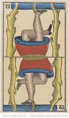 """[Jeu de tarot à enseignes italiennes, dit """"de Marseille"""", au portrait à deux têtes] : [jeu de cartes, estampe] Éditeur : B. P. Grimaud (Paris) Date d'édition : 1860-1899 Sujet : Tarot (jeu) Type : image fixe,estampe Langue :zxx Format : 78 cartes à jouer, 1 enveloppe : lithographie coloriée au pochoir ; 10,8 x 6,5 cm Format : image/jpeg Droits : domaine public Identifiant : ark:/12148/btv1b105203392"""