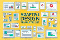 Adaptive Web Template for site forms of email subscribe, login to account, watching video, online shopping, blog and infographics on computer, tablet and smartphone. Vector