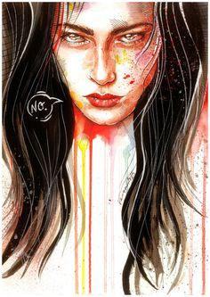 Veronika Vajdová #art #illustration #painting #watercolour #portrait #woman #power