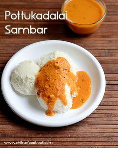 Chitra's Food Book: Instant Sambar For Idli – Pottukadalai Sambar Reci...