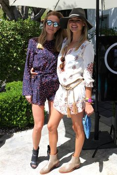 A printed Teotoki romper and Illesteva sunglasses contrasted Kelly Rohrbach's lightweight dress, which was cinched at the waist with a tasseled rope belt.