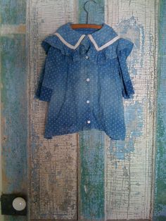 19Th C Blue Calico Child's Dress. Love the wear on the dress.. :) 1800primitives