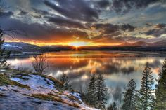 Winter Sunset over Lake Pend Oreille