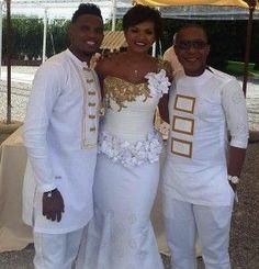Gilles-Toure @ International Soccer player Samuel E'to's Wedding African Lace, African Men, African Attire, African Beauty, African Dress, African Inspired Fashion, African Fashion, Wedding Wear, Wedding Attire