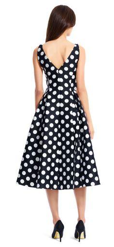 Classic and feminine, this stunning polka dot printed Mikado midi dress is  an elegant choice 9dae6f096a