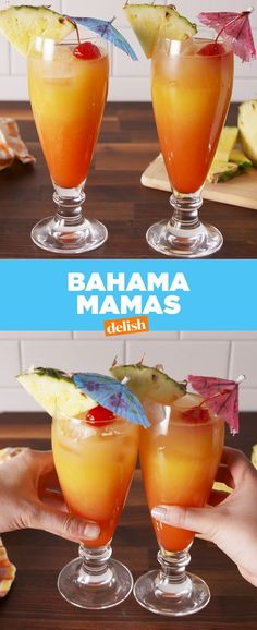 Bahama Mamas You're always on vacation when you have a Bahama Mama in hand. Related posts: Coconut Mojito Cocktail 23 Delicious Non-Alcoholic Cocktails To Drink Instead Of Booze Five-minute easy fudge recipe Easy Homemade Caramel Frappe Liquor Drinks, Non Alcoholic Drinks, Cocktail Drinks, Bourbon Drinks, Cocktail Ideas, Rum Cocktail Recipes, Alcoholic Punch, Vodka Cocktails, Margarita Recipes