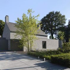 """In Villa Rotonda, completed July the archetypical """"house with saddle roof"""" has been abstracted to its vernacular essentials. The design of this house in Goirle is a collaboration of architects Pieter and Thomas Bedaux of Bedaux De Brouwer Archite. Contemporary Barn, Modern Barn, Contemporary Architecture, Minimalist Architecture, Transitional Fireplaces, Transitional House, Transitional Lighting, Transitional Bedroom, Luigi Snozzi"""