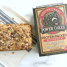 This protein packed, low sugar Chocolate Chip Zucchini Bread made with Kodiak Cakes mix is the perfect way to satisfy your sweet tooth in a healthier way!   recipe via www.yourchoicenutrition.com