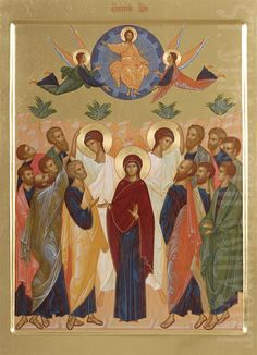 This icon of the Ascension of our Lord is painted to order in the Icon Painting Studio of St Elisabeth Convent. Byzantine Icons, Byzantine Art, Religious Icons, Religious Art, Transfiguration Of Jesus, Ascension Of Jesus, Jesus In The Temple, Faith Of Our Fathers, Assumption Of Mary