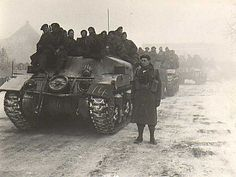 The Elgin Regiment Armoured Regiment) on the as the morning mists of mid-winter roll about their column of loaded Kangaroos somewhere in The Netherlands, January Canadian Army, British Army, Sherman Tank, Ww2 History, Ww2 Tanks, D Day, Historical Pictures, Armored Vehicles, Churchill