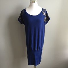 Cobalt Blue Tunic Sweater Preloved but in good condition. Can wear with tights or leggings. Cap sleeves are adorned with sequin and beads. No: holds, trades, or pp. Thank you! Forever 21 Sweaters