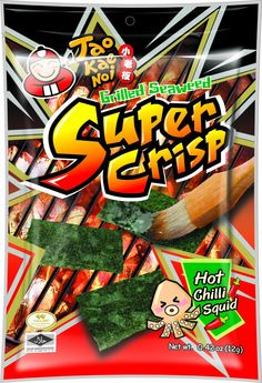 Sounds gross, but these are fabulous! Grilled Seaweed Hot Chili Squid Flavor 12g Bag by Tao Kae Noi Super Crisp!