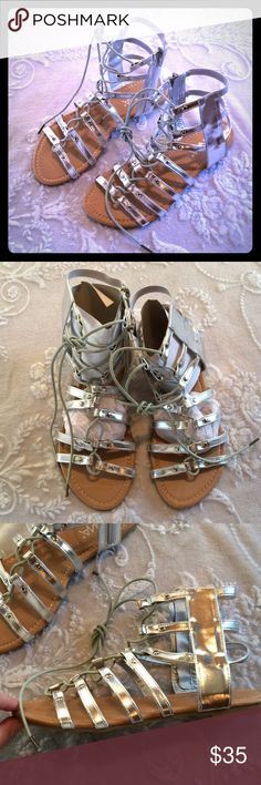 ANNA Silver Strappy Lace Up Gladiator Sandal 7 Zipper on inner ankle. I do NOT trade or hold items. ANNA Shoes Sandals