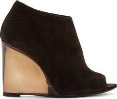 Burberry Prorsum Black Keston Peep-Toe Ankle Boots