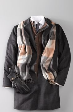 Men's Fashion   Winter layers completed with a plaid scarf.
