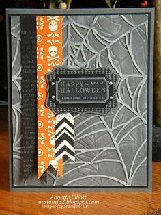 """Embossed Cobweb """"Happy Halloween"""" Card...AEstamps2 - Cards and Paper Crafts at Splitcoaststampers."""