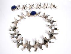 Super Rare Sterling Silver and lapis bracelet Designed by Henning Koppel for Georg Jensen Denmark c.1950 #ClayJensenSterlingSilver