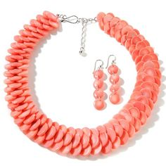 Jay King Coral Earrings and Necklace Set