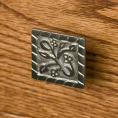 Solid Brass Decorative Square Cabinet Knob - Brushed Nickel