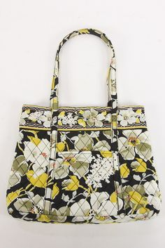 13a263f9f5a2 Vera Bradley Retired  Dogwood  Pattern Holiday Tote Bag Purse Black Olive  Maize