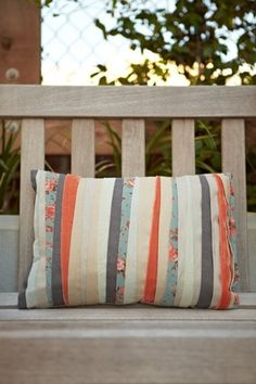 Possible idea for DIY pillow or quilt using fabric strips??