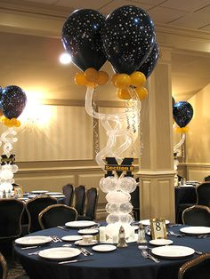 Funky Star Balloon Centerpiece with Cutout Logos