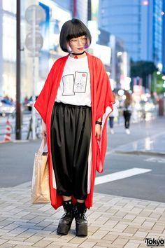 cool Harajuku Girl w/ Kimono Jacket, Comme Des Garcons & Purple Under Dye Hair