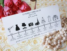Printable Wedding Party Timeline.  Keep your bridal party in check with a visual timeline. From hair & make up to the send off, your maids & men will be reminded of important times.