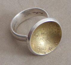 Hans Hansen Modernist Sterling Silver & Gold Vermeil Ring #EB175