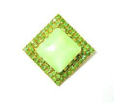 Vintage Austrian Green Glass Brooch Signed by GreenDesertArt, $48.00