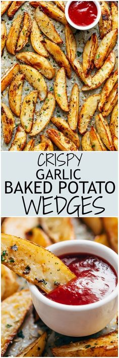 Crispy Garlic Baked Potato Wedges are soft pillows on the inside, and crunchy on the outside with a good kick of garlic and parmesan cheese! | cafedelites.com