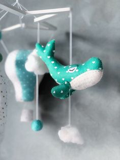 Excited to share this item from my shop: IN STOCK blue whale mobile baby green nursery mobile ocean theme nursery decor sea crib mobile moon mobile hot air balloon felt toy for crib