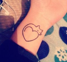 #cute #tiny #minimal #tattoo #designs small in size. Cute tattoo designs like – cartoon characters, baby animals, fairy, angel wings, flowers, butterfly, moon, pink rose are superb way to reflect your personality. #cat and #heart tattoo