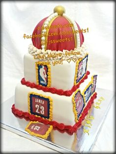 Details 360. A birthday cake fit for a king! A white chocolate cake, covered with vanilla fondant, with edible images, the crown is detailed with gold and white fondant, and butter cream frosting feathering for the band. If you look closely the gold ball on top is a basketball. It's the little details that separate us from the rest.  #ejssweets #ejssweets1 #customcakes #cakesinmcdonough #crown #crowncake #cakesforalloccasions #cakesforboys #cakesformen #king #kingcake #vanillacake…