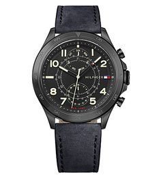 TOMMY HILFIGER 1791345 Hudson Black Ion-Plated Steel Watch. #tommyhilfiger #womens fashion watches
