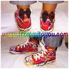 Splatter Paint Custom Converse by From Mi To You. www.frommitoyou.com #junkchucks#customconverse Creative Shoes, Custom Converse, Embellished Shoes, Paint Splatter, Sock Shoes, Converse Chuck Taylor, Cleats, Socks, Bling