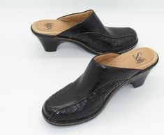 a9b24db475b7 Details about Sofft womens Shoes 6 M Black Tooled Leather Mules Clogs Slip  On Heel Western