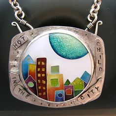 Enamel cloisonne textured silver pendant with by julieholmesarts