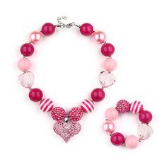 Girls Chunky Bubblegum Necklace/Bracelet Heart Rhinestone Dark Pink